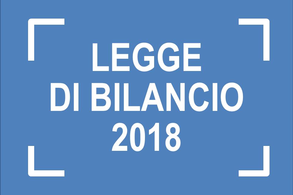 Le LEGGE DI BILANCIO per l'anno 2018
